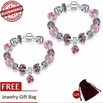 Treasure by B&D H009-C Elegant Pink Glass Stones Bracelet (Silver Plated) BUY1 TAKE1