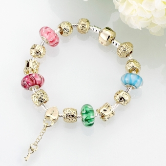Treasure by B&D H017 Delicate Colorful Zircon Inlay Beads Bracelet (Gold Plated) - 4