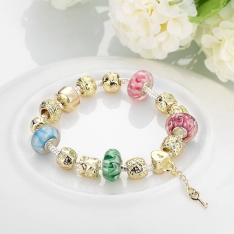 Treasure by B&D H017 Delicate Colorful Zircon Inlay Beads Bracelet (Gold Plated) - 3