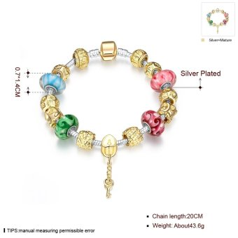 Treasure by B&D H017 Delicate Colorful Zircon Inlay Beads Bracelet (Gold Plated) - 2