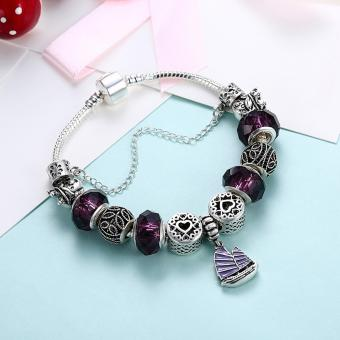 Treasure by B&D H057 Yifan Style Pendant with Purple Charm Bracelet for Women (Silver Plated) - 5