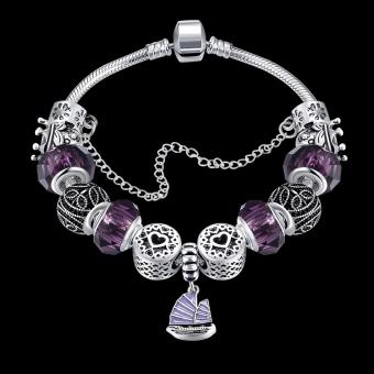 Treasure by B&D H057 Yifan Style Pendant with Purple Charm Bracelet for Women (Silver Plated) - 2