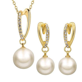 Treasure by B&D S393-A Czech Drilling Artificial Pearls PendantNecklace & Earrings Party Jewellery Set (Gold Plated)