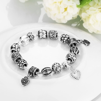 Treasure by B&D H023 Retro Geometry Shape Beads Snake Chain Bracelet (Silver Plated) - picture 4
