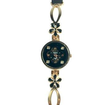 Trendy Ladies Black Stainless Steel Strap Watch