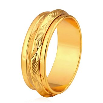 U7 Couple Rings Simple Multi-layer 18K Stamp Band 18K Real GoldPlated Fashion Wedding Jewelry (Gold) - INTL