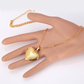U7 Heart Locket Pendant 18K Real Gold Plated Necklace(Gold) - 2
