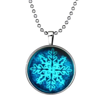 Ufengke Christmas Cute Round Shaped Snowflake Noctilucent Pendant Necklace - Intl - picture 2