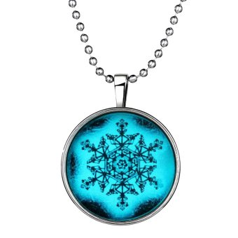 Ufengke Christmas Punk alloy Round Shaped Snowflake Noctilucent Pendant Necklace - Intl