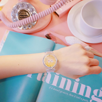 Ulzzang Korean-style transparent round soft student watch