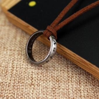 Uncharted 4 Drake's Vintage Band Ring Leather Code Pendant Necklace - intl - 4