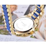 Unisex Women Men's Round Shape Blue Stainless Steel Strap Watch - thumbnail 3
