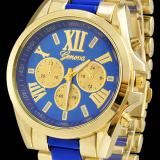 Unisex Women Men's Round Shape Blue Stainless Steel Strap Watch - thumbnail 2
