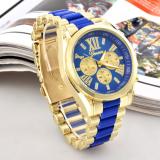 Unisex Women Men's Round Shape Blue Stainless Steel Strap Watch - thumbnail 1