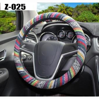 Universal 38cm 15'' Car Auto Steering-Wheel Cover Steering WheelWrap Natural Fibers Anti Slip Breathable National Customs ,Black -intl - 2