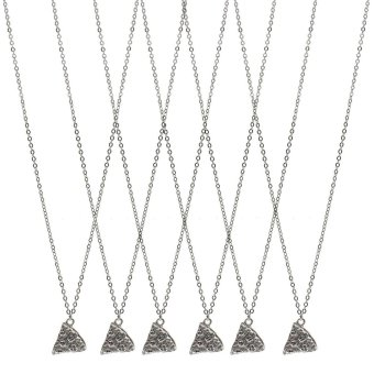 Vanker 6Pcs/Set Slice Pizza Silver Charm Pendant Chain NecklaceBest Friends Friendship
