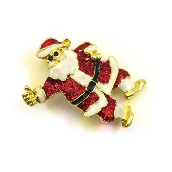 Vanker Xmas Christmas Gift Santa Claus Shirt Decor Alloy Gold-plated Brooch Pin Belt Man Style - picture 2