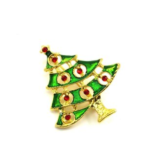 Vanker Xmas Christmas Gift Santa Claus Shirt Decor Alloy Gold-plated Brooch Pin Green Tree Style - picture 2
