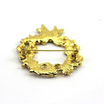 Vanker Xmas Christmas Gift Santa Claus Shirt Decor Alloy Gold-plated Brooch Pin Wreath Style - picture 2
