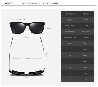 VEITHDIA 387 Fashion Alloy Frame Square Polarized Sunglasses MenDriving Glasses gun grey - intl - 4