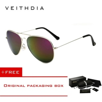 VEITHDIA Brand Classic Fashion Polarized Sunglasses Men/Women Colorful Reflective Coating Lens Eyewear Accessories Sun Glasses 3026(Silver Purple) - intl