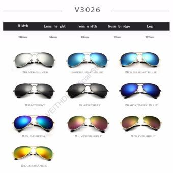VEITHDIA Brand Classic Fashion Polarized Sunglasses Men/Women Colorful Reflective Coating Lens Eyewear Accessories Sun Glasses 3026(Silver Purple) - intl - 3