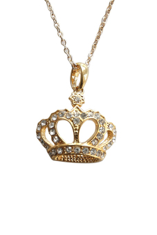 Velishy 18K Gold Plated Crown Crystal Necklace