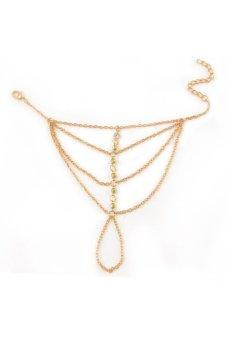Velishy Bracelet Bangle Multi Chain Tassel Finger Ring Gold Gold - picture 2
