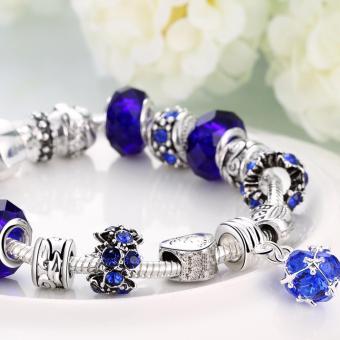 Victoria Jewelry Charm Beaded Bracelet(Blue/Silver) - 3
