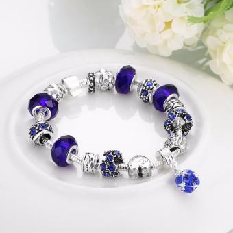 Victoria Jewelry Charm Beaded Bracelet(Blue/Silver) - 4