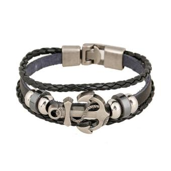Vintage Men's Metal Anchor Steel Studded Surfer Leather Bracelet(Multicolor) Price Philippines