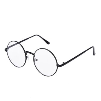 Vintage Metal Eyeglass Frames Round Glass Spectacles Retro OpticalEyewear Black - intl