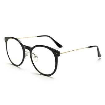 Vintage Womens Man Eyeglasses Reading Glasses Retro Unisex MetalEye Glasses Frame Optical UV Protection Clear Lenses CJ062-01(Black)
