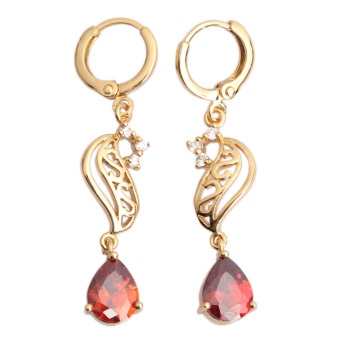 Water Drop Leaves Crystal Eardrop 18K Gold Filled (Red)