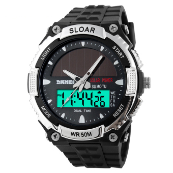 Water-Resistant LCD Watch Wrist Watch Sport Watches (Silver)