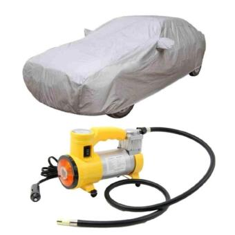 Waterproof Lightweight Nylon Car Cover for Sedan Cars with HeavyDuty Air Compressor (Yellow)