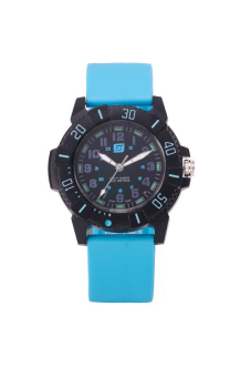 Waterproof Men's Jelly Silicone Band Wristwatch (Blue)
