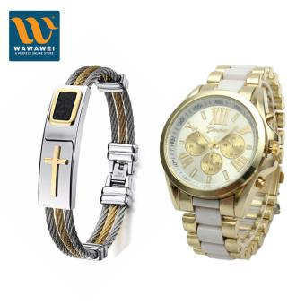 Wawawei Fashion Cross Jesus Premium Stainless Steel Bracelet #32456With Geneva Three Eyes Strip Women's Two-Tone Stainless Steel StrapWatch (White/Gold) #29321