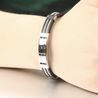 Wawawei Fashion Glamorous Silver Chain Titanium Silicone LeatherMen Bracelet with Free Camera Clip Lens - 5
