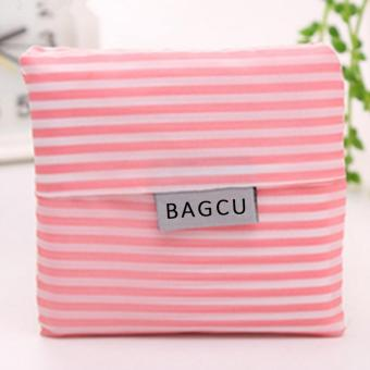 Wawawei Foldable Shopping Bag Pouch Handbag Shoulder Tote Storagewashable Shopper (Pink/Stripe)