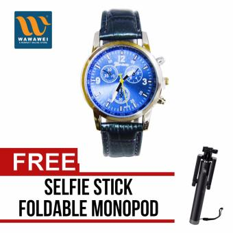 Wawawei Geneva Unisex Jasmine Women's and Men's Leather Strap WatchFashionable Casual (Blue) with free Selfie Stick IntegratedFoldable Smart Shooting Aid Monopod Apple iPhone/All Smartphone(Color May Vary)