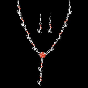 Wedding Bridal Red Rhinestone Necklace Earring Set Beautiful Plum Flower