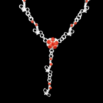 Wedding Bridal Red Rhinestone Necklace Earring Set Beautiful Plum Flower - picture 2