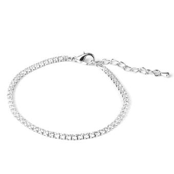 Wedding Silver 1-Row Zircon Rhinestone Cuff Bracelet Wristband Adjustable