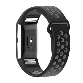 Wholesale FOR fitbit charge 2 band strap Diamond SiliconewatchbandsFor Fitbit charge 2 bracelet smart wristbands ,BLACK Grey - intl
