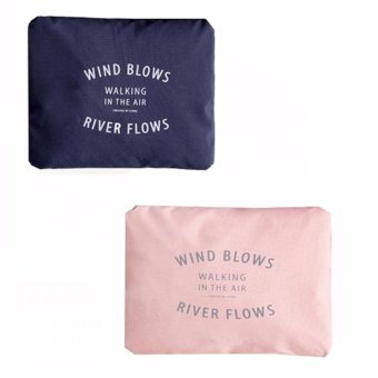 Wind Blows Folding Carry Bag (Peach,Navy blue) Set Of 2