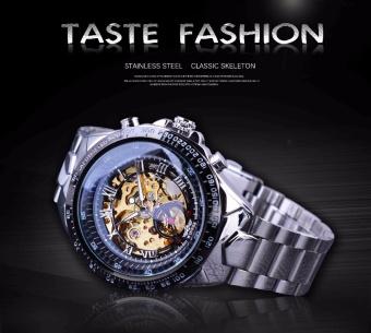 Winner Classic Series Golden Movement Inside Silver Stainless SteelMens Skeleton Watch Top Brand Luxury Fashion Automatic Watch - intl - 2