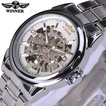 Winner Mechanical Watch Men Top Brand Hollow Skeleton Automatic Mechanical Watch Men Steampunk Steel Watch Gear Watch Erkek Saat - intl