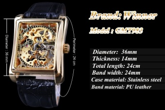 WINNER Men Black Skeleton Dial Automatic Mechanical SilverStainless Steel Watch - intl - 3