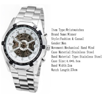 WINNER Men Skeleton Dial Automatic Mechanical Stainless Steel Watch(White)